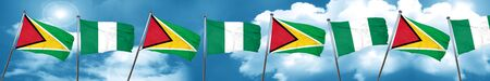 country nigeria: Guyana flag with Nigeria flag, 3D rendering