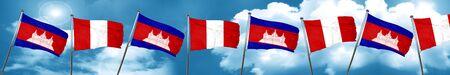 bandera de peru: Cambodia flag with Peru flag, 3D rendering
