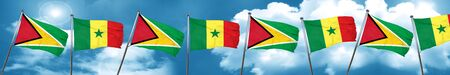 Guyana flag with Senegal flag, 3D rendering Stock Photo