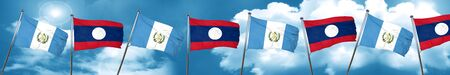 guatemala flag with Laos flag, 3D rendering