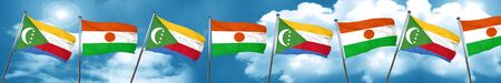 Comoros flag with Niger flag, 3D rendering