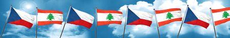 lebanon: czechoslovakia flag with Lebanon flag, 3D rendering