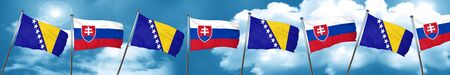 Bosnia and Herzegovina flag with Slovakia flag, 3D rendering Stock Photo