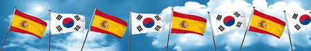 spanish flag: Spanish flag with South Korea flag, 3D rendering