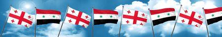 georgian: Georgia flag with Syria flag, 3D rendering
