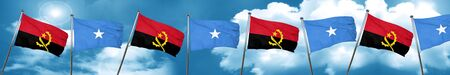 Angola flag with Somalia flag, 3D rendering