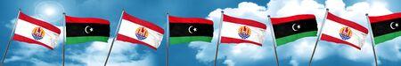 bandera de la Polinesia francesa con la bandera de Libia, 3D