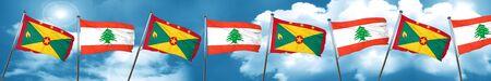 lebanon: Grenada flag with Lebanon flag, 3D rendering Stock Photo