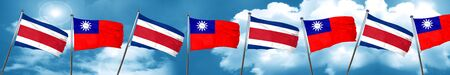 Costa Rica flag with Taiwan flag, 3D rendering
