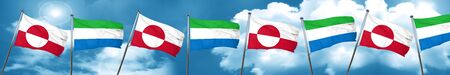 greenland flag with Sierra Leone flag, 3D rendering Stock Photo