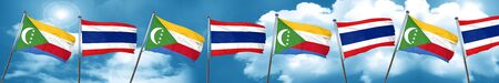 Comoros flag with Thailand flag, 3D rendering