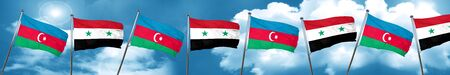 Azerbaijan flag with Syria flag, 3D rendering