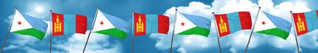Djibouti flag with Mongolia flag, 3D rendering