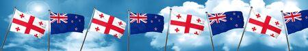 georgian: Georgia flag with New Zealand flag, 3D rendering Stock Photo