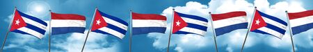 cuban culture: Cuba flag with Netherlands flag, 3D rendering
