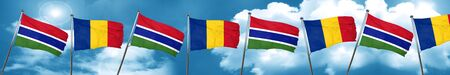 gambia: Gambia flag with Romania flag, 3D rendering Stock Photo
