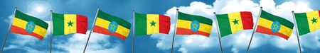 Ethiopia flag with Senegal flag, 3D rendering