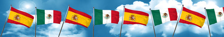 spanish flag: Spanish flag with Mexico flag, 3D rendering