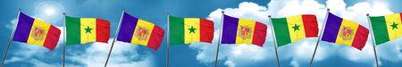 Andorra flag with Senegal flag, 3D rendering