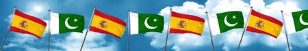 flag of pakistan: Spanish flag with Pakistan flag, 3D rendering