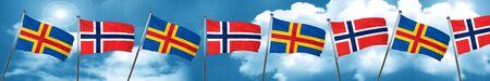 islas de Aland con la bandera de Noruega, 3D