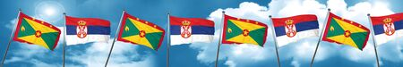 Grenada flag with Serbia flag, 3D rendering Stock Photo