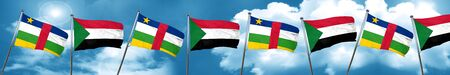 Central african republic flag with Sudan flag, 3D rendering