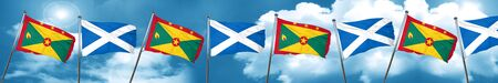 Grenada flag with Scotland flag, 3D rendering