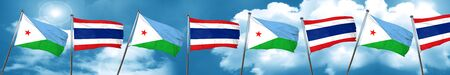 Djibouti flag with Thailand flag, 3D rendering