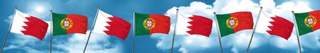 Bahrain flag with Portugal flag, 3D rendering Stock Photo