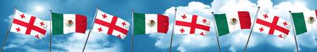 georgian: Georgia flag with Mexico flag, 3D rendering