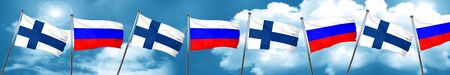 finnish: finland flag with Russia flag, 3D rendering Stock Photo