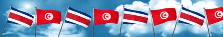 Costa Rica flag with Tunisia flag, 3D rendering Stock Photo