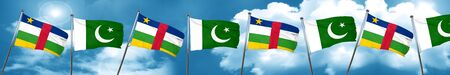 Central african republic flag with Pakistan flag, 3D rendering