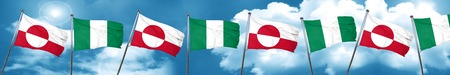 greenland flag with Nigeria flag, 3D rendering Stock Photo