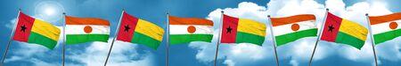 Guinea bissau flag with Niger flag, 3D rendering