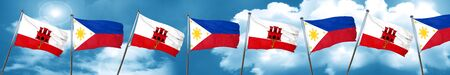 gibraltar flag with Philippines flag, 3D rendering