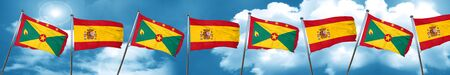 Grenada flag with Spain flag, 3D rendering Stock Photo