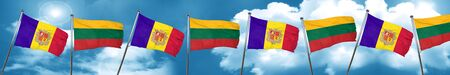 Andorra flag with Lithuania flag, 3D rendering