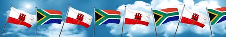 gibraltar flag with South Africa flag, 3D rendering