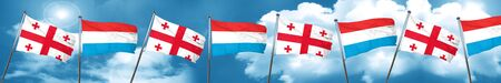 georgian: Georgia flag with Luxembourg flag, 3D rendering Stock Photo