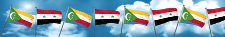 Comoros flag with Syria flag, 3D rendering Stock Photo