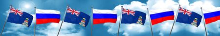 combines: cayman islands flag with Russia flag, 3D rendering