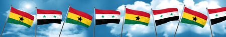 Ghana flag with Syria flag, 3D rendering