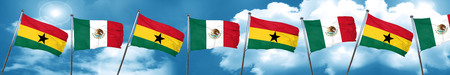 Ghana flag with Mexico flag, 3D rendering