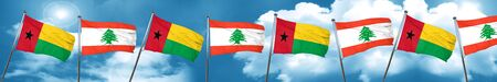 Guinea bissau flag with Lebanon flag, 3D rendering Stock Photo