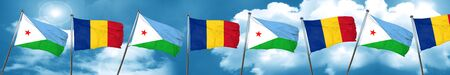 Djibouti flag with Romania flag, 3D rendering