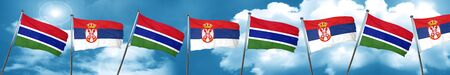 gambia: Gambia flag with Serbia flag, 3D rendering Stock Photo