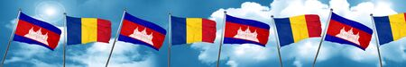 Cambodia flag with Romania flag, 3D rendering Stock Photo