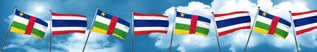 Bandera de la República Centroafricana con la bandera de Tailandia, representación 3D Foto de archivo